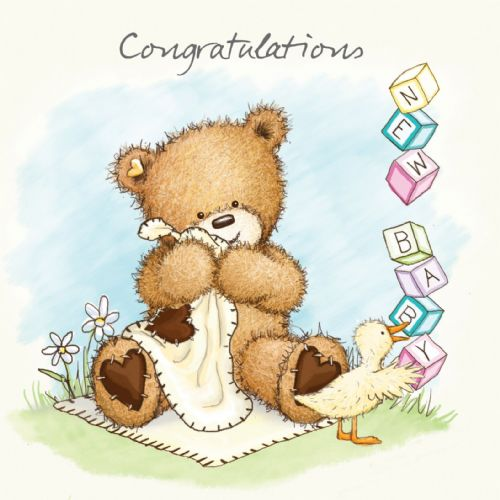 New baby Card With Cute Bear and Baby Bricks